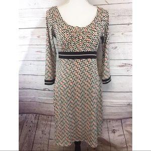 -Ann Taylor- Geometric Stretch Midi Dress